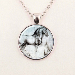 Wholesale glass photo cabochon Horse Necklace Silver Vintage Horse Art glass dome pendant jewelry glass gemstone necklace