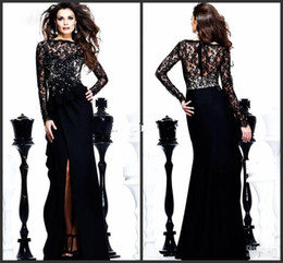 2015 New arrival!!!! sexy black lace Evening Dresses high collar long sleeve prom dresses with slit front