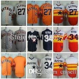 Wholesale 2016 New Huston Astros Jose Altuve Jersey Orange Throwback Rainbow Stitched Authentic Nolan Ryan Baseball Jersey Embroidery Logo