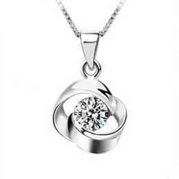 Wholesale Top Grade Silver Pendant Necklaces Jewellery Hot Sale Crystal Flower Pendants Necklace For Women Girl Wedding Party Jewelry WH