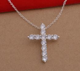 Croix d'argent en Ligne-plaqué argent pendentif en argent collier de bijoux de mode Cross / fgnanxua bqoakhva HJIA057