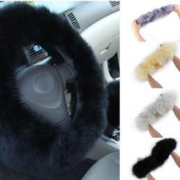 Wholesale 2015 Car Styling Winter Black beige grey white long Wool Plush Steering Wheel Cover Woolen Car Accessory Steering wheel cover