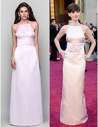 Wholesale Anne Hathaway Red Carpet Celebrity Dress Column Satin Halter Cheap Criss Cross Straps Back Prom Gown Split Formal Dress