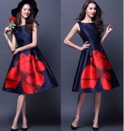 New Designer Womens Dresses Dark Blue Mid-calf Gown Big Red Flower Print Fashion Vintage Casual Brand Dress DK680FYD