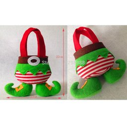 Wholesale Cloth Goody Bags - Wholesale-Cute Christmas Candy Bag Cloth Cartoon New Year Lovely Goody Goodie Bonbon Sweetmeat Gift Bag SRAL X19