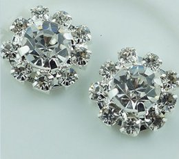 Wholesale MM flower metal rhinestone button wedding embellishment crafting DIY accessory Flat Back Crystal Pearl Buttons