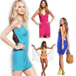 Wholesale PrettyBaby summer spaghetti strap beach dress womens sunbathing body wrap bath towel wrap swim suit beach towels for adults colors