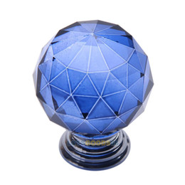 Wholesale LS4G Sphere Blue Crystal Single arch Bedroom Modern Furniture Handles Knobs
