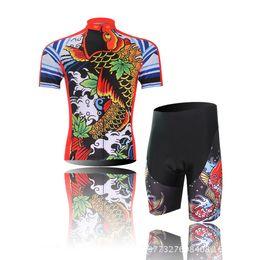 Wholesale-Men's Cycling Jersey Set Short Sleeve Bicycle Jersey Cycling Clothing Bike Wear Shirt For Men Jersey Carp Pattern