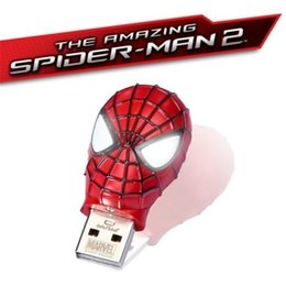 Wholesale Spiderman Waterproof GB GB GB Amazing Spider Mask METAL USB2 Flash Drive memory pen drive pendrives thumbdrive Retail package