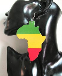 5pairs lot Women Color Printing Rasta Africa earrings