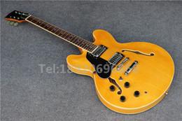 Guitares main gauche corps creux en Ligne-Fabriqué à la lumière de la Chine couleur jaune semi transperant, gaucher 335S F corps creux Jazz guitare électrique