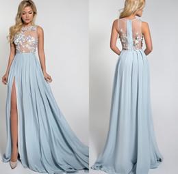 2016 Sexy Illusion Split Long Prom Dresses Size 3d Floral Appliques Light Blue Party Dresses For Women Plus Size Special Occasion Dresses