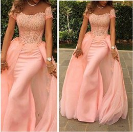 2015 Fashion Pink Mermaid Evening Dresses Elegant Off the Shoulder Short Sleeves Lace with Detached Train Prom Dresses