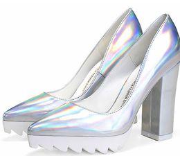 Promotion point de navire Chaussures habillées en cuir de talon de talon des femmes de mode Plate-forme a pointé les orteils Chaussures hautes de chute de l'été d'été de talons hauts de 11cm 5colors