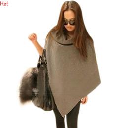 Wholesale 2016 New Design Cape Spring Autumn Cloak Women Asymmetric Poncho Long Wool Shawl Irregular Cape Lapel Ladies Coat Black Grey Brown SV010765