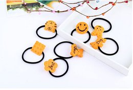 Wholesale Hair Jewelry Hair Rubber Bands Cookies cartoons Children rubber band hair ring elastic rope headwear Random color