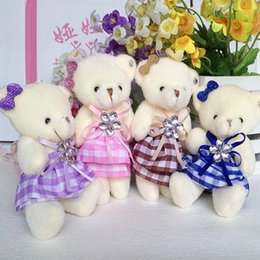 Mobile charm accessory teddy bear girls toys doll bouquets flower bear material mini model plush&stuff promotional gift bear