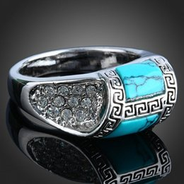 Europe hot sell silver plating inlay turquoise ring vintage ring mix size 16-19#
