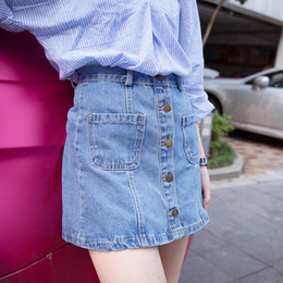 New Summer Fashion Women Denim Dark Blue pocket Button A-Line Pocket Button Denim skirts Casual brand Quality Skirts