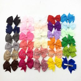 "3"" Baby Hair Bow Clips Grosgrain Bows Ribbon Bow With Hair Clip Children Boutique Hairclip 100pcs lot"