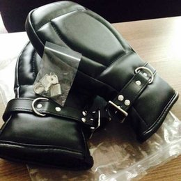 Sex Bondage Gloves Black Leather Deluxe Padded Fist Mitts Bondage Handcuffs Sex Toys BDSM Bondage Handcuffs Adult Sex Products for Couple