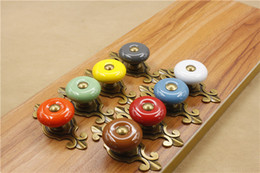 Large size Bronze base - Red Green Gray White Orange Blue Brown Yellow round ceramic single door knob cabinet handle drawer pull #222
