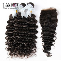 5Pcs Lot Mongolian Deep Wave Curly Virgin Hair With Closure 7A Unprocessed Human Hair Weaves 4Bundles And 1Piece Lace Closures Natural Color