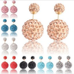 Wholesale 2015HOT Women Jewelry Stud Earrings Double Sides Polymer Clay Ball Czech Diamond Earring Candy Color Binco Channel Earrings