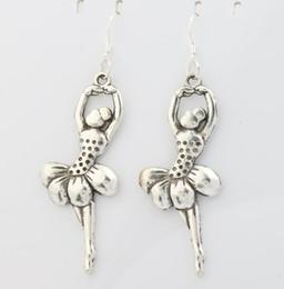 Wholesale 2016 hot Antique Silver Elegant Dancing Ballet Gril Charm Pendant Earrings Silver Fish Ear Hook Chandelier x25 mm E151