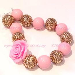 fashion jewelry pink acrylic beads gold rhinestone beads pink rose flower peendant chunky Bubblegum girl statement necklace CB613