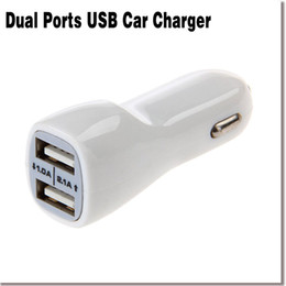 Wholesale Hot Car Cigarette Lighter Plug in1 Dual USB Micro Car Charger for Mobile MP4 PDA White With a USB cable 45617