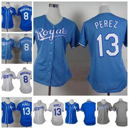 Dame ville en Ligne-Kansas City Royals Women Jersey Baseball 13 Salvador Perez 8 Mike Moustakas Blank Cool Taille de base Taille S-XXL For Lady