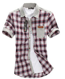 Wholesale-New Man Shirt Short Sleeve With Pocket Leather Letter Print Decorative Male Tops Grid&Stripe Business&Casual Shirt For