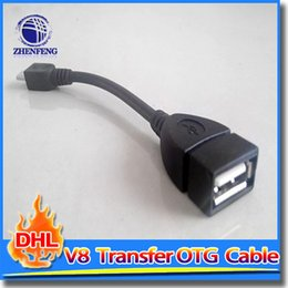 Wholesale V8 Transfer Micro USB OTG Cable Adapter Tablet For Android MP5 MP4 Smart Phone Drop Easy to Carry