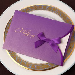 Wholesale High Quality Graceful Wedding Invitations Bows Purple Golden Envolope Embossing Carving Paper Folders Pull Side