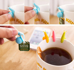 Wholesale Random Color Cute Snail Shape Silicone Tea Bag Holder Cup Mug Candy Colors Gift Set GOOD