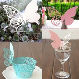 Wholesale Cutting Tables Wholesale - 30 Pieces Table Mark Wine Glass Laser Cut Butterfly Name Place Cards for Wedding Party Decoration Products Supplies-HDBK