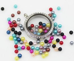 Wholesale 100PCS lot 3MM Colorful Charms Mix Round Simulated Pearl Beads Floating Charms For Glass Locket
