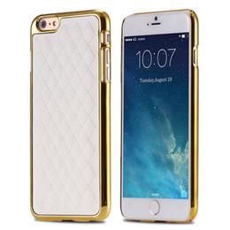 Descuento teléfonos celulares casos de cuero Retro de lujo más nuevo lineal Caja Oro Chapado de PC para el iPhone 6 / 6plus / 6S / 6S Plus cuadrícula cuero de las ovejas Caso Celulares Cubierta