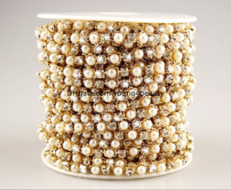 Wholesale yards cm wide ABS pearl clear crystal rhinestone cup chain trims applique gold plating for garment sewing