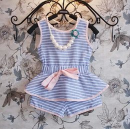 Wholesale Summer children outfits sets lady style stripe kids two piece set Pure and fresh wathet blue girls clothing sets fit age ab1716