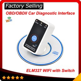 Wholesale 2016 Super Mini ELM327 WiFi with Power Switch WIFI327 OBD2 EOBD ELM auto Code Reader Tool Diagnostic tool In stock