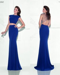 Two Pieces Tarik Ediz 2016 Arabic Evening Dresses Backless Crystals Mermaid Evening Gowns Royal Blue Party Dresses