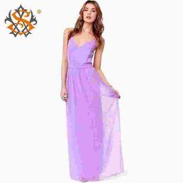 Chiffon Womens Summer Boho Dresses 2015 Straps V-neck Backless Sexy Casual Women Maxi Dress Sleeveless Sundress