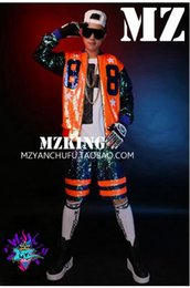 Male singer clubs in Europe and the runway looks dazzle colour orange green sequins splicing hip-hop baseball 88 costumes. S-6xl