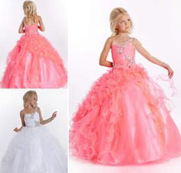 Cheap One Long Sleeve Beading Ruffle Tulle Satin Flower Girl Dress Little Girl Pageant Dress Flower Girls Dresses for Wedding