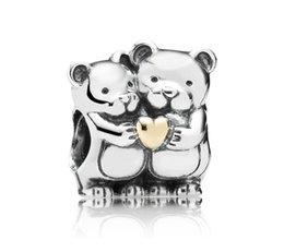 Wholesale 100 Sterling Silver and k gold Bear Hug Bead Fits European Pandora Style Charm Jewelry Bracelets