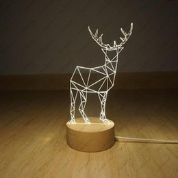 Wholesale Novelty D Optical Illusion LED Table Lamp Lighting With Wood Base desk lamp night light best christmas gift mm thick