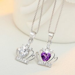 Wholesale New Arrival Sterling Silver Austrian Crystal Crown Pendant Purple Silver Water Wave Necklace